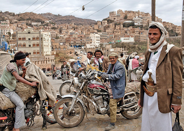 Makeshift motorcycle taxis for hire in Al Mahweet