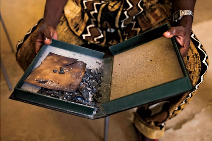 Manuscripts burned by the Islamists rebels, housed at the Ahmed Baba Institute in Timbuktu, Mali.   Photo: Marco Di Lauro/Reportage by Getty Images