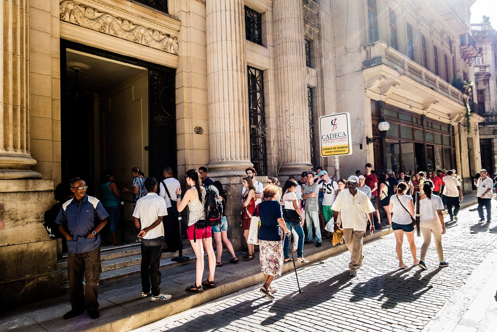 Lining up to exchange ­currencies in Old Havana.